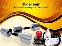 Metallic Dumbbells Body Fitness Material Powerpoint Templates Ppt Themes And Graphics 0113