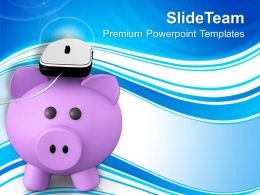 Metallic Mouse Placed On A Piggy Bank PowerPoint Templates PPT Themes And Graphics 0213