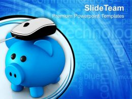 Metallic Piggy Bank With Computer Mouse PowerPoint Templates PPT Themes And Graphics 0213
