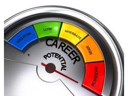 Meter Showing Maximum Level Of Career Potential Stock Photo
