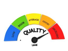 Meter Showing Maximum Level Of Product Quality Stock Photo