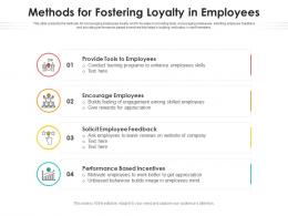 Methods For Fostering Loyalty In Employees