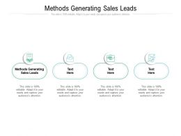 Methods Generating Sales Leads Ppt Powerpoint Presentation Pictures Examples Cpb