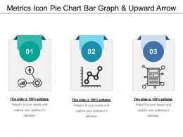 Metrics Icon Pie Chart Bar Graph And Upward Arrow