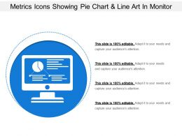 Metrics Icons Showing Pie Chart And Line Art In Monitor