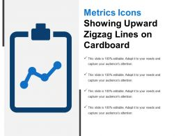 Metrics Icons Showing Upward Zigzag Lines On Cardboard