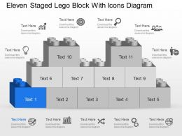 Mf Eleven Staged Lego Block With Icons Diagram Powerpoint Template Slide