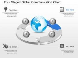 Mf Four Staged Global Communication Chart Powerpoint Template Slide