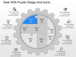 mf Gear With Puzzle Design And Icons Powerpoint Template
