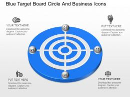 mg Blue Target Board Circle And Business Icons Powerpoint Temptate