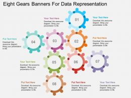 mg Eight Gears Banners For Data Representation Flat Powerpoint Design