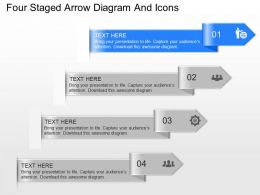 mg Four Staged Arrow Diagram And Icons Powerpoint Template
