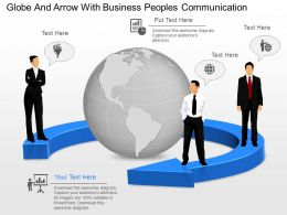 mg Globe And Arrow With Business Peoples Communication Powerpoint Template