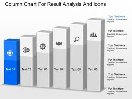 mh Column Chart For Result Analysis And Icons Powerpoint Temptate
