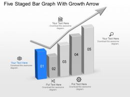Mh Five Staged Bar Graph With Growth Arrow Powerpoint Template Slide