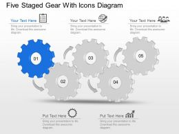 Mi Five Staged Gear With Icons Diagram Powerpoint Template Slide
