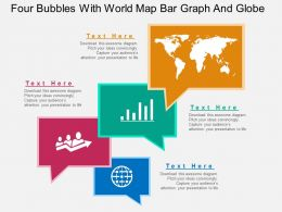 mi Four Bubbles With World Map Bar Graph And Globe Flat Powerpoint Design