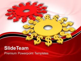 Micro Gear Powerpoint Templates Dollar Gearwheels Teamwork Ppt Themes