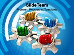 Micro Gear Templates Four Gears Turn In Conjunction Industrial Company Ppt Slides Powerpoint