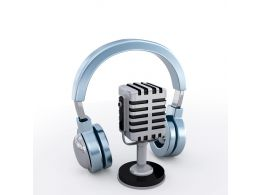 Microphone With Headphone For Radio Usage Stock Photo