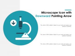 Microscope Icon With Downward Pointing Arrow