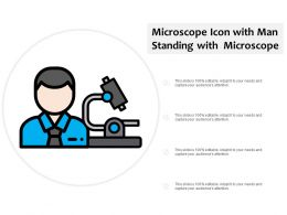 Microscope Icon With Man Standing With Microscope