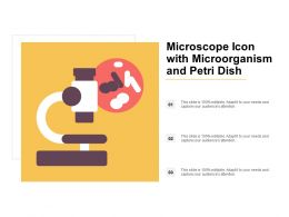 Microscope Icon With Microorganism And Petri Dish