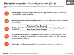 Microsoft Corporation Future Opportunities 2019