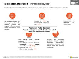 Microsoft Corporation Introduction 2019