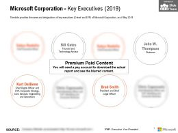 Microsoft Corporation Key Executives 2019