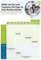Middle And Top Level Employees One Pager For Daily Meeting Calendar Report Infographic PPT PDF Document