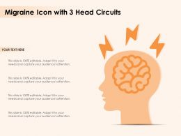 Migraine Icon With 3 Head Circuits