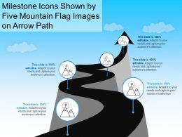 Milestone Icons Shown By Five Mountain Flag Images On Arrow Path
