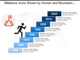 Milestone Icons Shown By Human And Mountains Image With Flag And Text Boxes