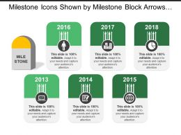Milestone Icons Shown By Milestone Block Arrows Globe Pie Chart Human Image