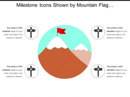 Milestone Icons Shown By Mountain Flag And Signboard Images