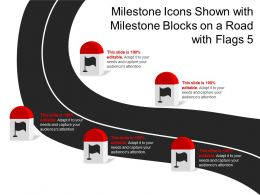 Milestone Icons Shown With Milestone Blocks On A Road With 5 Flags