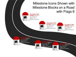 Milestone Icons Shown With Milestone Blocks On A Road With 6 Flags