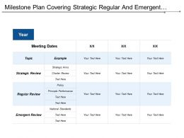 Milestone Plan Covering Strategic Regular And Emergent Review