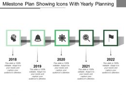 Milestone Plan Showing Icons With Yearly Planning