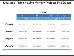 Milestone Plan Showing Monthly Projects Text Boxes