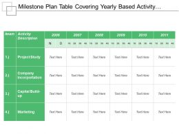 Milestone Plan Table Covering Yearly Based Activity Description