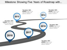 Milestone Showing Five Years Of Roadmap With Curved Road