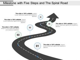 Milestone With Five Steps And The Spiral Road