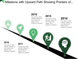 Milestone With Upward Path Showing Pointers Of Years
