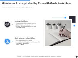 Milestones Accomplished By Firm With Goals To Achieve Milestones Slide Ppt Slides