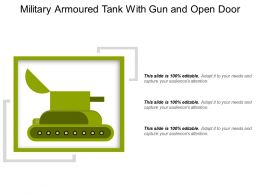 Military Armoured Tank With Gun And Open Door