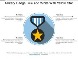 Military Badge Blue And White With Yellow Star