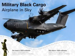 Military Black Cargo Airplane In Sky