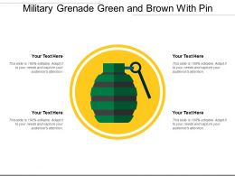 Military Grenade Green And Brown With Pin